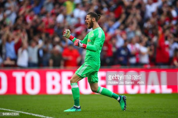 David de Gea of Manchester United celebrates during The Emirates FA Cup Semi Final match between Manchester United and Tottenham Hotspur at Wembley...
