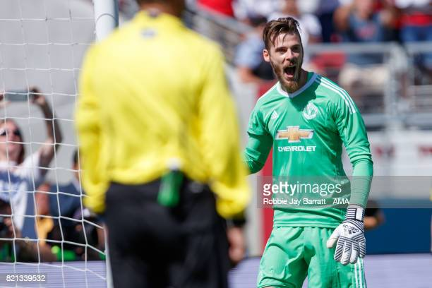 David de Gea of Manchester United celebrates during the International Champions Cup 2017 match between Real Madrid v Manchester United at Levi'a...