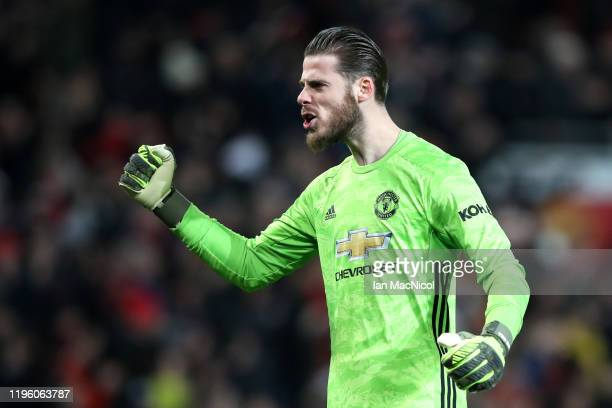David De Gea of Manchester United celebrates during the Premier League match between Manchester United and Newcastle United at Old Trafford on...