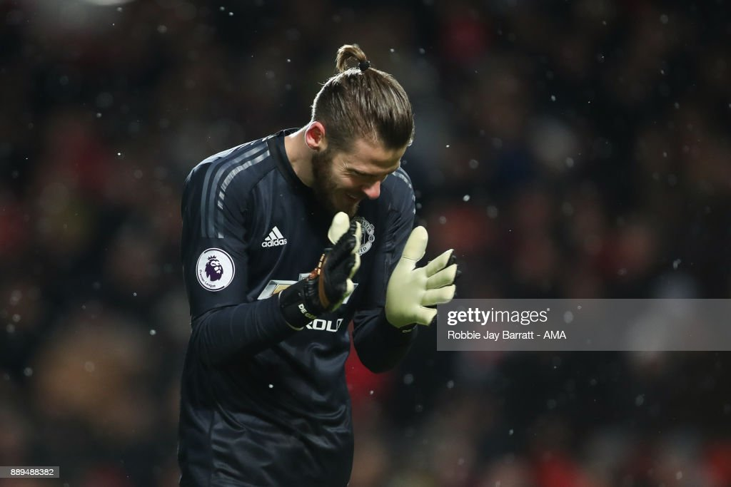 David de Gea of Manchester United celebrates during the Premier League match between Manchester United and Manchester City at Old Trafford on December 10, 2017 in Manchester, England.