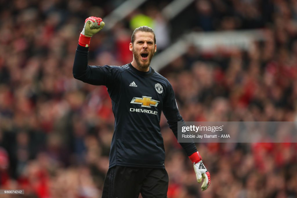 David De Gea of Manchester United celebrates during the Premier League match between Manchester United and Liverpool at Old Trafford on March 10, 2018 in Manchester, England.