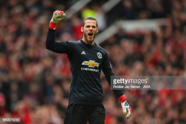 David De Gea of Manchester United celebrates during the Premier League match between Manchester United and Liverpool at Old Trafford on March 10 2018...