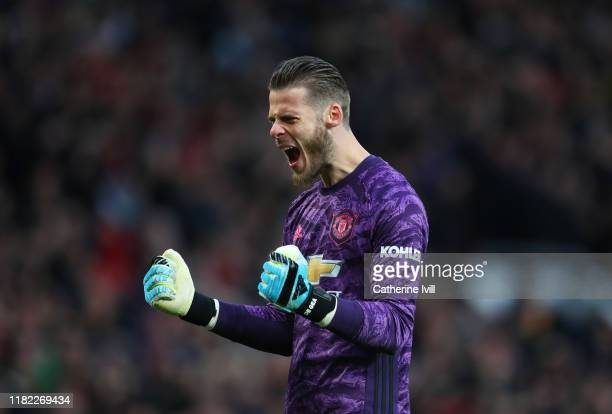 David De Gea of Manchester United celebrates his sides first goal scored by Marcus Rashford of Manchester United during the Premier League match...