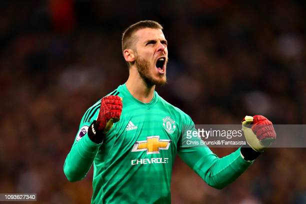 David De Gea of Manchester United celebrates his sides first goal during the Premier League match between Tottenham Hotspur and Manchester United at...