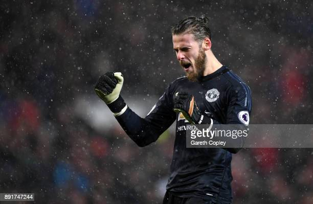 David De Gea of Manchester United celebrates his sides first goal during the Premier League match between Manchester United and AFC Bournemouth at...