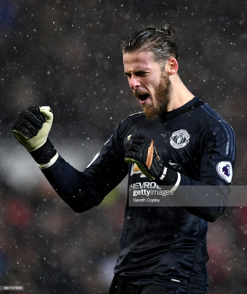 David De Gea of Manchester United celebrates his sides first goal during the Premier League match between Manchester United and AFC Bournemouth at Old Trafford on December 13, 2017 in Manchester, England.
