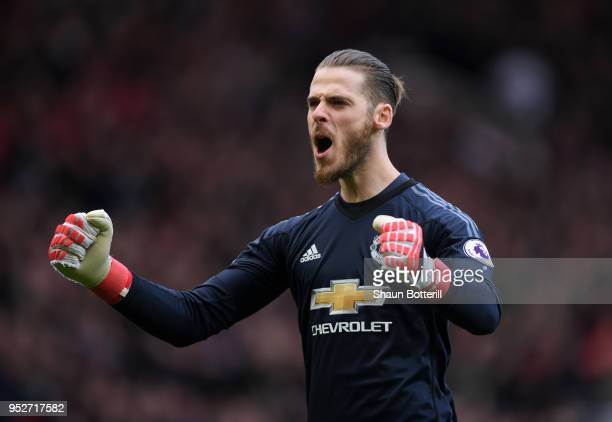 David De Gea of Manchester United celebrates his sides first goal during the Premier League match between Manchester United and Arsenal at Old...