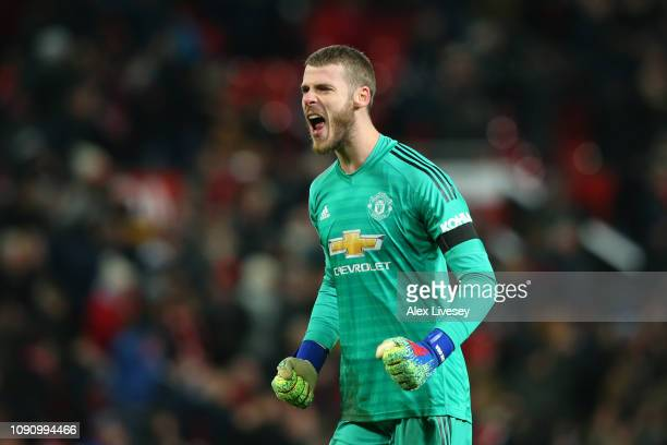 David De Gea of Manchester United celebrates his sides second goal during the Premier League match between Manchester United and Burnley at Old...