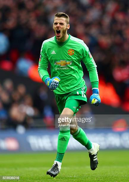 David De Gea of Manchester United celebrates his sides second goal during The Emirates FA Cup semi final match between Everton and Manchester United...