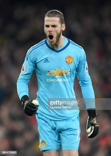 David De Gea of Manchester United celebrates his sides second goal during the Premier League match between Arsenal and Manchester United at Emirates...