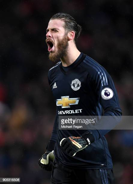 David De Gea of Manchester United celebrates his side's second goal during the Premier League match between Manchester United and Stoke City at Old...