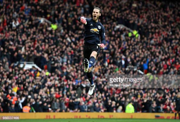David De Gea of Manchester United celebrates his side's second goal during the Premier League match between Manchester United and Liverpool at Old...