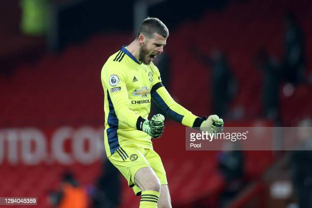 David De Gea of Manchester United celebrates his team's first goal during the Premier League match between Manchester United and Aston Villa at Old...