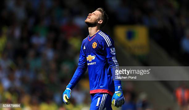 David De Gea of Manchester United celebrates his team's first goal during the Barclays Premier League match between Norwich City and Manchester...