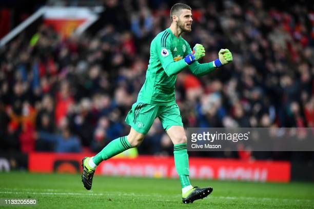 David De Gea of Manchester United celebrates his teams third goal during the Premier League match between Manchester United and Southampton FC at Old...