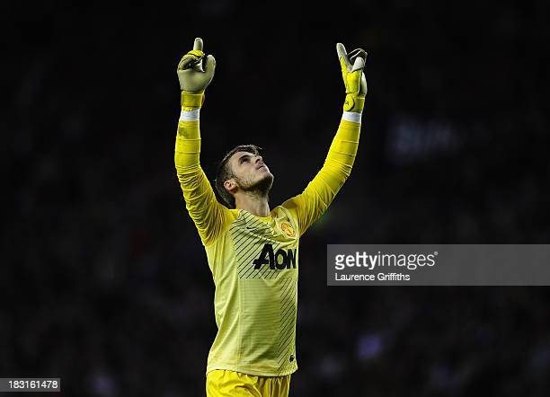 David De Gea of Manchester United celebrates the first goal during the Barclays Premier League match between Sunderland and Manchester United at...
