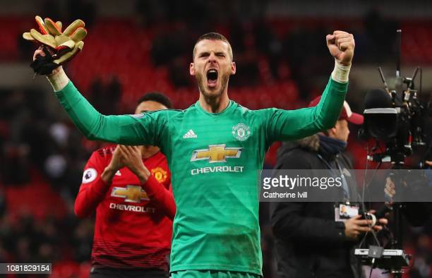David De Gea of Manchester United celebrates victory after the Premier League match between Tottenham Hotspur and Manchester United at Wembley...
