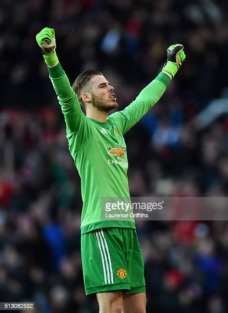 David De Gea of Manchester United celebrates victory during the Barclays Premier League match between Manchester United and Arsenal at Old Trafford...