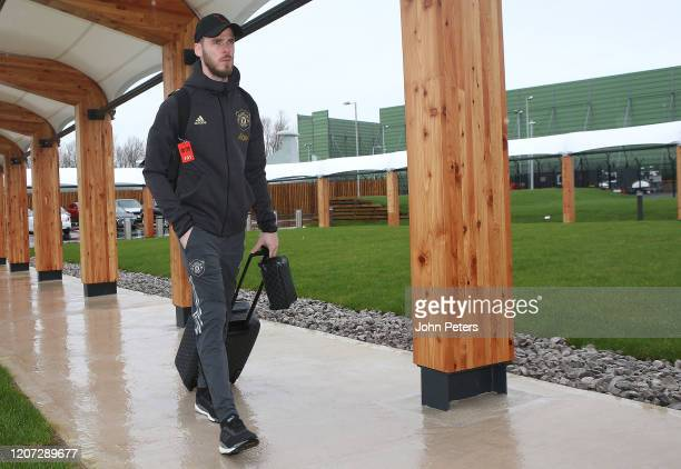David de Gea of Manchester United checks in ahead of their flight to Brugge at Manchester Airport on February 19 2020 in Manchester England