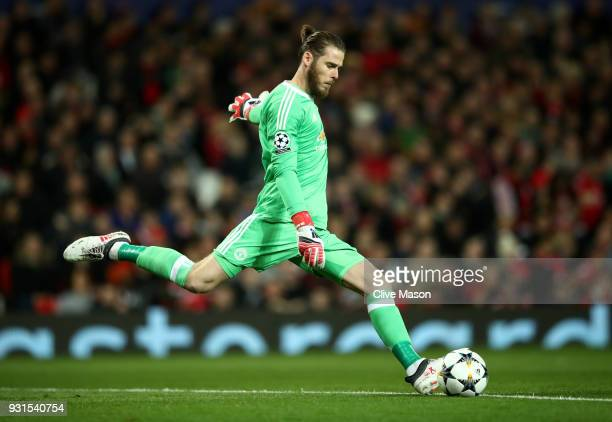 David De Gea of Manchester United clears the ball during the UEFA Champions League Round of 16 Second Leg match between Manchester United and Sevilla...