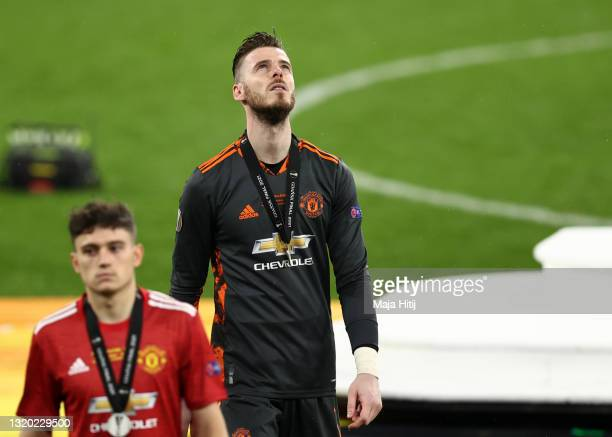 David de Gea of Manchester United cuts a dejected figure following the UEFA Europa League Final between Villarreal CF and Manchester United at Gdansk...