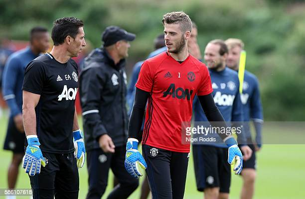 David De Gea of Manchester United during a training session at Aon Training Complex on August 5 2016 in Manchester England