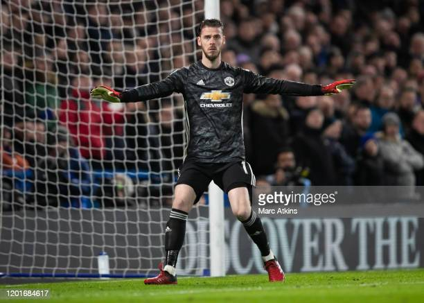 David de Gea of Manchester United during the Premier League match between Chelsea FC and Manchester United at Stamford Bridge on February 17 2020 in...