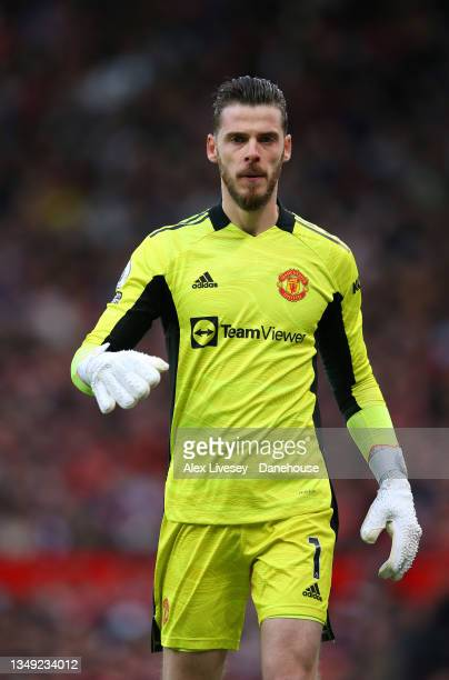 David de Gea of Manchester United during the Premier League match between Manchester United and Liverpool at Old Trafford on October 24, 2021 in...