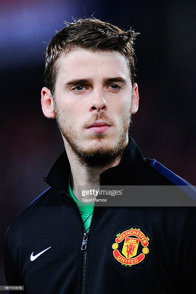 David de Gea of Manchester United during the UEFA Champions League Group A match between Real Sociedad de Futbol and Manchester United at Estadio Anoeta on November 5, 2013 in San Sebastian, Spain.