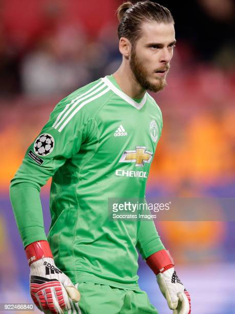 David de Gea of Manchester United during the UEFA Champions League match between Sevilla v Manchester United at the Estadio Ramon Sanchez Pizjuan on...