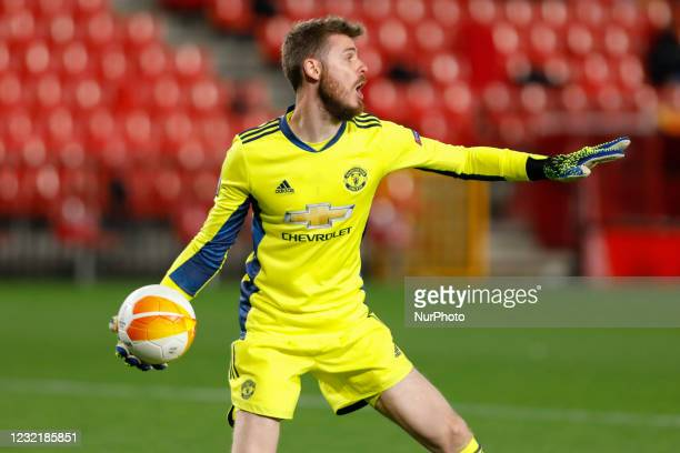 David De Gea, of Manchester United during the UEFA Europa League Quarter Final leg one match between Granada CF and Manchester United at Nuevo Los...