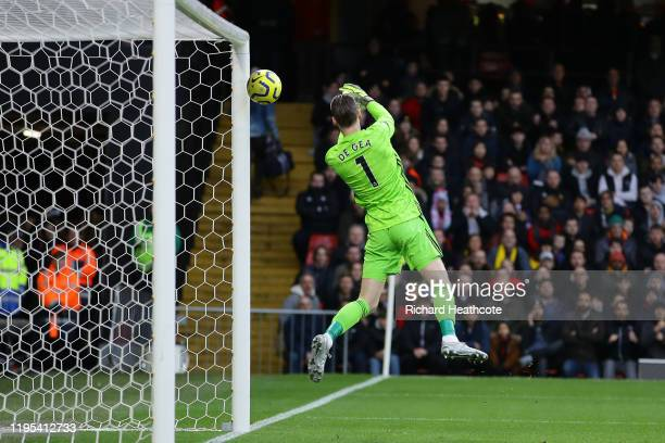 David De Gea of Manchester United fails to save a shot from Ismaila Sarr of Watford which results in the first goal for Watford scored by Ismaila...