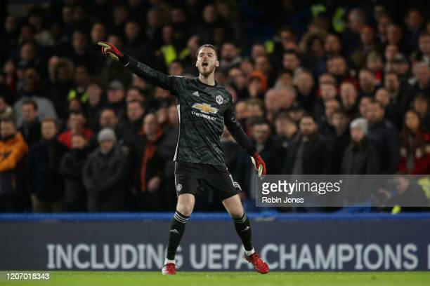 David De Gea of Manchester United gestures during the Premier League match between Chelsea FC and Manchester United at Stamford Bridge on February 17...