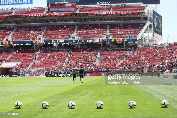 David de Gea of Manchester United goes off to warm up in the stadium during the International Champions Cup 2017 match between Real Madrid v...