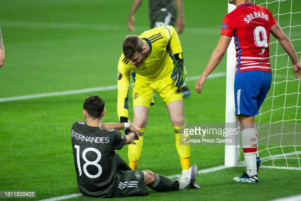 David De Gea of Manchester United helps to Bruno Fernandes during the UEFA Europa League, Quarter Final First Leg, football match played between...
