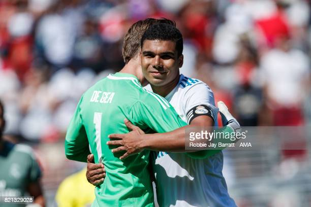 David de Gea of Manchester United hugs Casemiro of Real Madrid at full time as he misses the final penalty during the International Champions Cup...