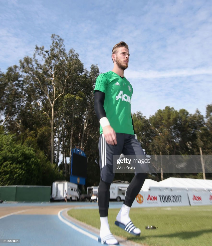David de Gea of Manchester United in action during a first team training session as part of their pre-season tour of the USA at UCLA on July 13, 2017 in Los Angeles, California.