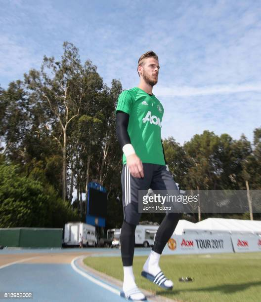 David de Gea of Manchester United in action during a first team training session as part of their preseason tour of the USA at UCLA on July 13 2017...
