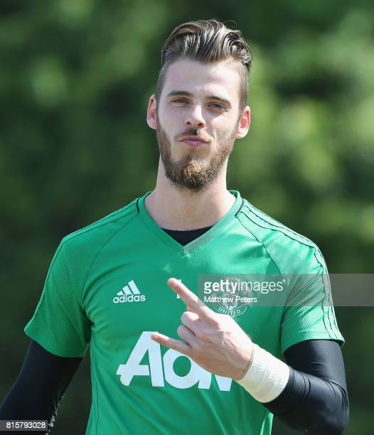 David de Gea of Manchester United in action during a first team training session as part of their preseason tour of the USA at UCLA on July 16 2017...
