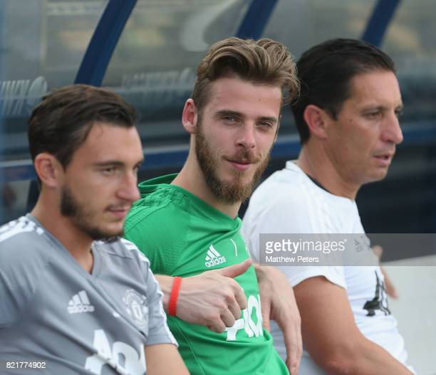 David de Gea of Manchester United in action during a first team training session as part of their preseason tour of the USA at Shaw Field on July 24...