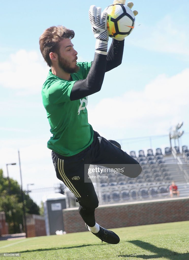 David de Gea of Manchester United in action during a first team training session as part of their pre-season tour of the USA on July 25, 2017 in Washington, DC.