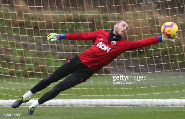 David de Gea of Manchester United in action during a first team training session at Aon Training Complex on January 16 2019 in Manchester England