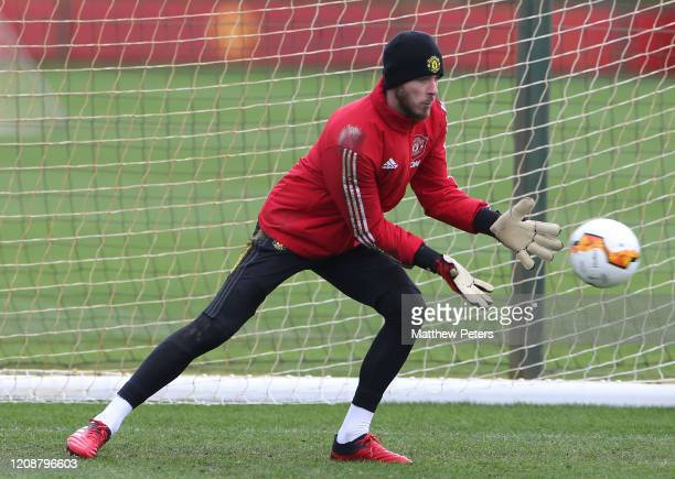 David de Gea of Manchester United in action during a first team training session at Aon Training Complex on February 26 2020 in Manchester England