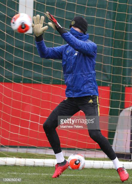 David de Gea of Manchester United in action during a first team training session at Aon Training Complex on February 28 2020 in Manchester England