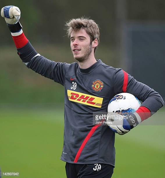 David de Gea of Manchester United in action during a first team training session at Carrington Training Ground on April 6, 2012 in Manchester,...