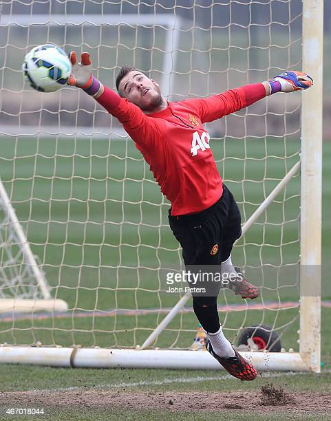 David de Gea of Manchester United in action during a first team training session at Aon Training Complex on March 20 2015 in Manchester England