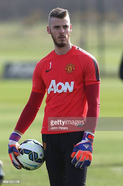 David de Gea of Manchester United in action during a first team training session at Aon Training Complex on April 10, 2015 in Manchester, England.