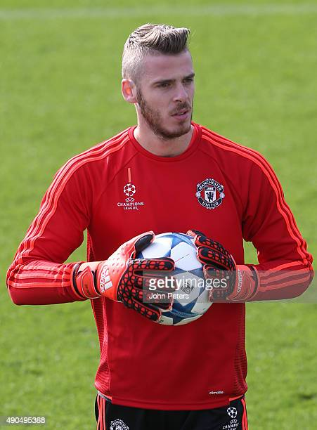 David de Gea of Manchester United in action during a first team training session at Aon Training Complex on September 29 2015 in Manchester United...