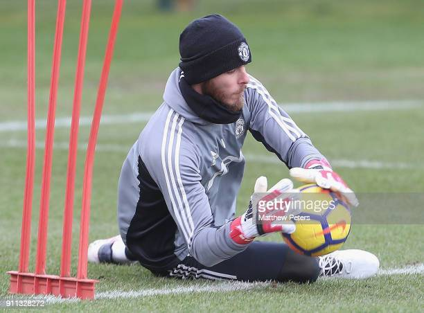 David de Gea of Manchester United in action during a first team training session at Aon Training Complex on January 28 2018 in Manchester England