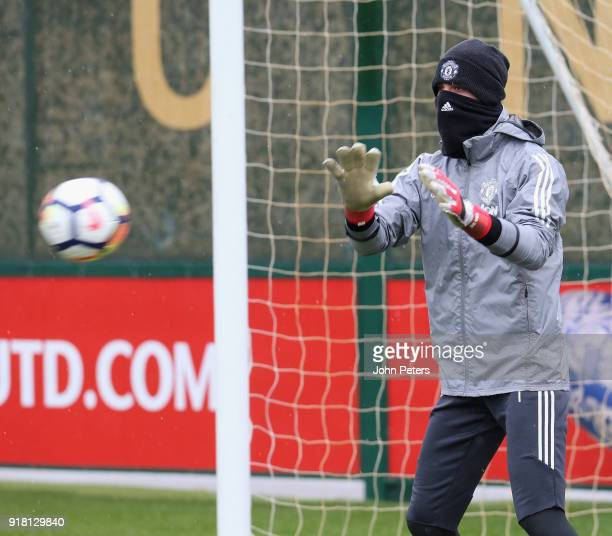 David de Gea of Manchester United in action during a first team training session at Aon Training Complex on February 14 2018 in Manchester England